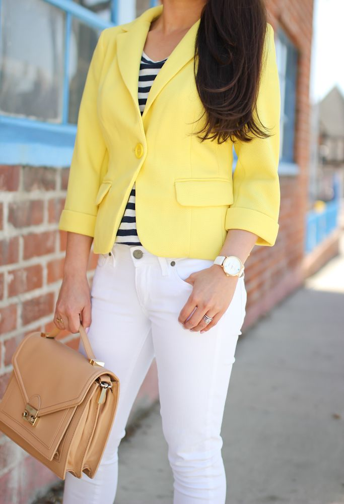 Cropped Yellow Blazer, striped top, floral heels, white leather and gold watch, leather purse // StylishPetite.com