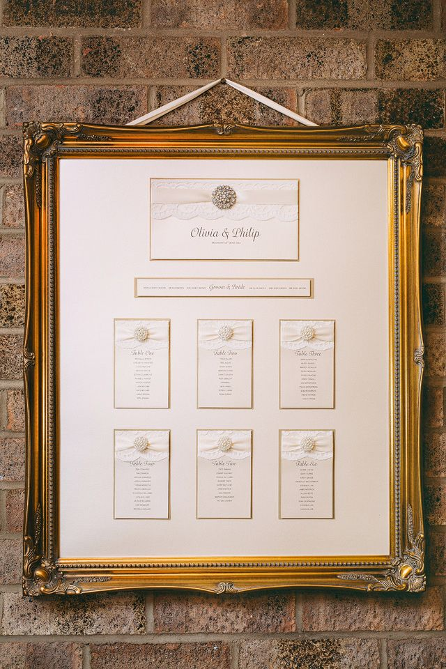 White and ivory themed table plan presented in a gorgeous gold frame #tableplan #weddingday #weddingstationary #gold #white #ivory