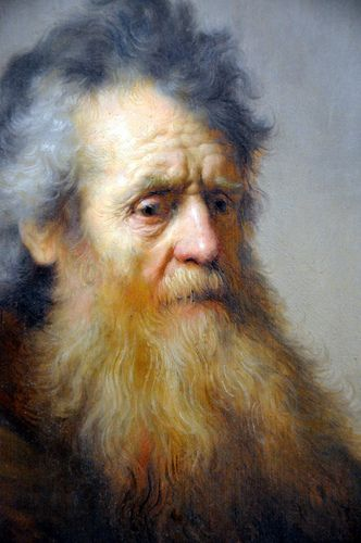 Rembrandt van Rijn - Bust of an Old Man at Harvard Art Museum Cambridge MA (Detail)