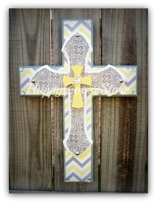Small Wall Cross - Yellow and Gray theme, Damask and Chevron