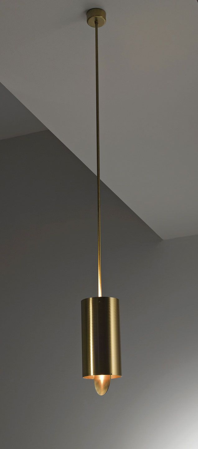 Tubo Sospensione MF 40 - Hanging lamp in brushed brass with adjustable ring. By Mikael Fabris   Laurameroni