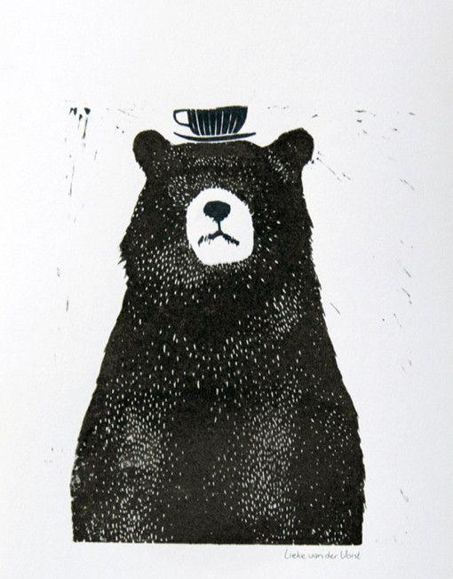 LIEKELAND-LINOCUT-BEAR WITH TEA CUP