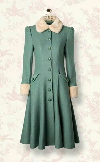 Stylish, utilitarian 1940s coat in a charming shade of green. Collar and cuffs look like sheepskin, but I can't tell.