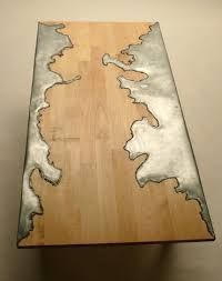 poured liquid metal wood table - Google Search