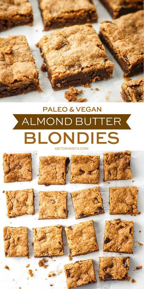 My new FAVORITE dessert to share with friends! These paleo & vegan Almond Butter Blondies are super easy to prepare and taste better than a cookie from Mrs Fields! http://detoxinista.com/2016/08/paleo-vegan-almond-butter-blondies/