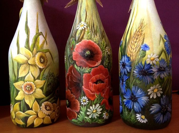 Blumen  (Deko-Flaschen, Bild auf Glas/Akrylfarbe/Handarbeit)