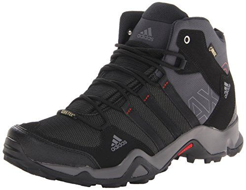 adidas Outdoor Men's Ax2 Mid Gore-Tex Hiking Boot, Dark Shale/Black/Light Scarlet, 11 M US. For product info go to:  https://all4hiking.com/products/adidas-outdoor-mens-ax2-mid-gore-tex-hiking-boot-dark-shaleblacklight-scarlet-11-m-us/