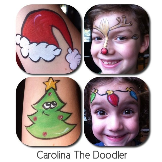 Some of my Carolina The Doodler Face Painting designs for the 2012 Holiday Season. = )