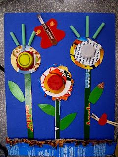 Fun Earth Day craft!Ideas, Recycled Garden, Recycle Gardens, Kids Crafts, Flower Gardens, Earth Day Crafts, Art Projects, Earthday, Recycle Art