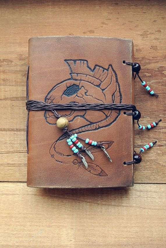 notebook of natural leather cat out of the by PairOfHandsLeather