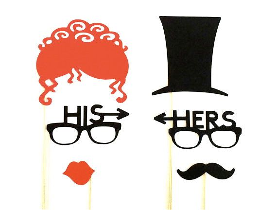 SALE Funny His And Photo Booth Props Set Of 6 Silly Glasses Red Hair Top Hat Wedding Decorations Party Supplies