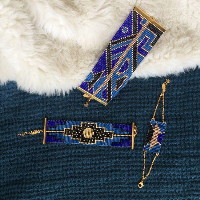 Amahlé / Collection Ndebele / Bleu Nuit / Bracelet / Manchette / Ethnique chic / Tenue de soirée