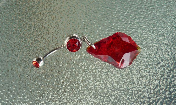 Red Crystal stainless steel belly ring, stainless steel navel ring, dangle navel ring, dangle belly ring, belly ring, navel ring, BR84