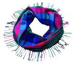 Fraas - Turquoise Colour Block Fringe Loop www.dreamweavergifts.ca