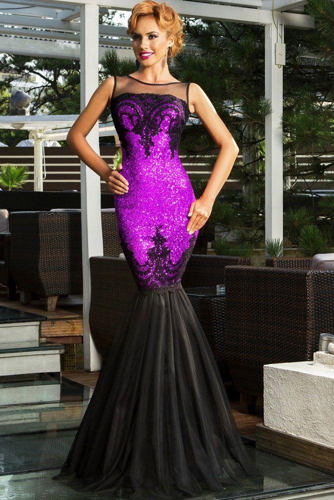 Achat Robes De Soiree Violet Sequin Applique Parti Robe De Sirene en Petit Prix…