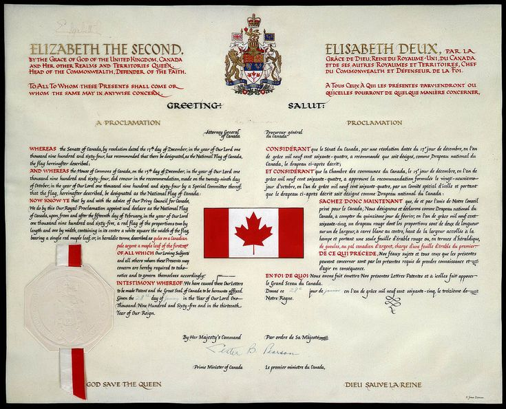 The Proclamation of the National Flag of Canada / La Proclamation du drapeau national du Canada