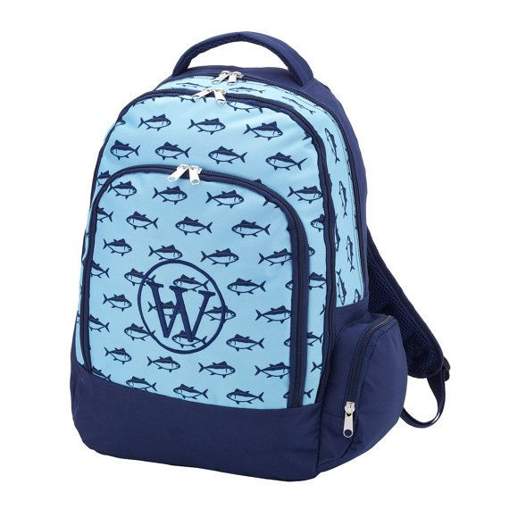 Personalized Navy Backpack, Personalized Navy Book Bag, Monogrammed Navy Backpack