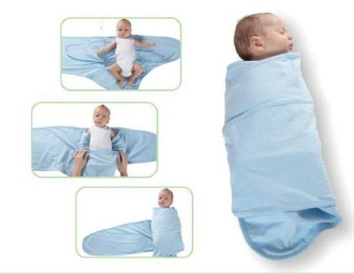 Miracle Blanket Baby Swaddle Blanket, Blue with Chocolate Polka Dots