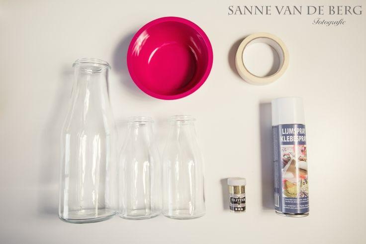 Bruiloft DIY - Glitter vaasjes - Sanne van de Berg Bruidsfotografie