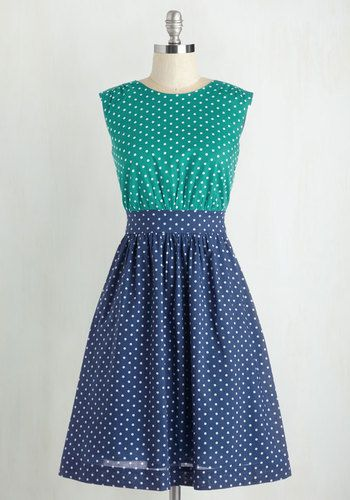 Too Much Fun Dress in Teal Dots by Emily and Fin - Mid-length, Cotton, Woven, Polka Dots, Print, Casual, Sleeveless, Exclusives, Variation, Pockets, Twofer, Daytime Party, Nautical, Vintage Inspired, 50s, Colorblocking, Bridesmaid, Fit & Flare, Green, Blue