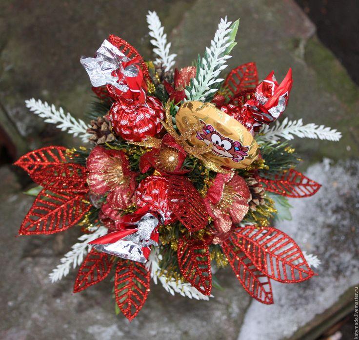 Купить Коробка конфет новогодняя - ярко-красный, новогодняя композиция, подарок на новый год, красная коробка