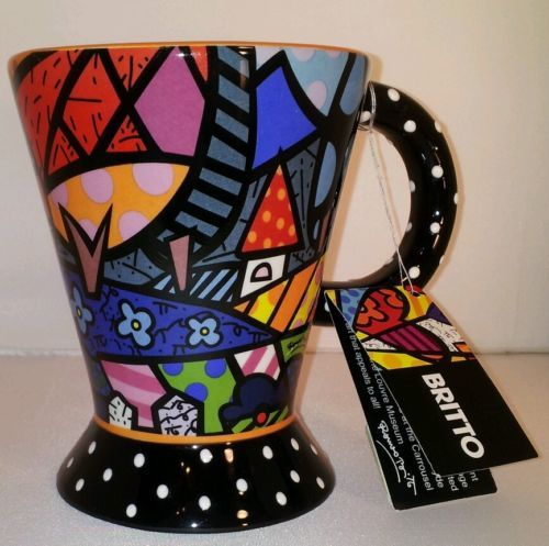 "Romero Britto Coffee Mug Tea Cup ""Home"" 2009 Wildly Colorful Pop Art Flowers NWT"