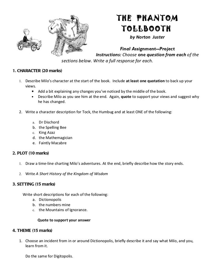 the phantom tollbooth essay Know the parts of a regular essay: thesis, concrete detail, commentary, etc  the phantom tollbooth chapter 3 questions 1 why is the dog named tock 2.