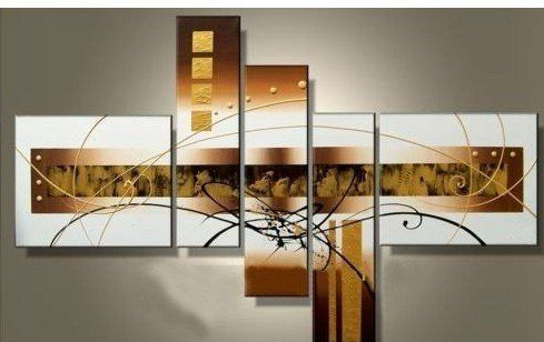 Santin Art - 100% Hand-painted Free Shipping Wood Framed Golden Clouds Home Decoration Modern Abstract Oil Painting on Canvas 5pcs/set Mixorde