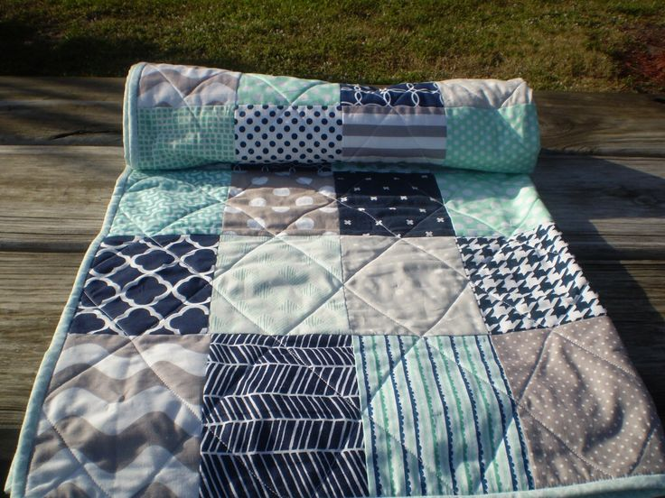 Nautical Baby Quilt, Navy Blue,Grey,Mint Green,Baby Boy Bedding,Baby Girl Quilt,Handmade Crib Quilt,Chevron Quilt,Modern,Toddler,Mint Julep by happyquilts on Etsy https://www.etsy.com/listing/243479684/nautical-baby-quilt-navy-bluegreymint