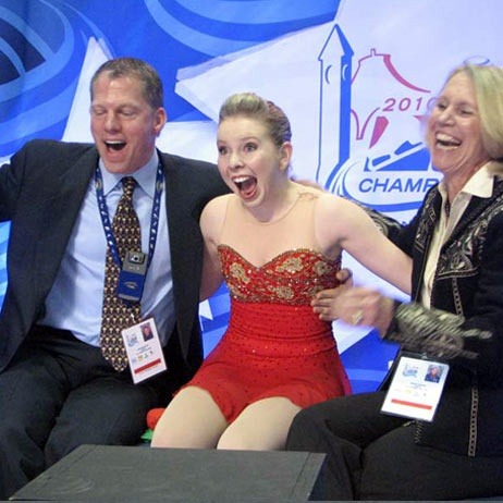 Rachael Flatt and coaches Tom Zakrajsek and Becky Calvin go nuts as they discover the skater has likely earned a trip to the 2010 Olympics.