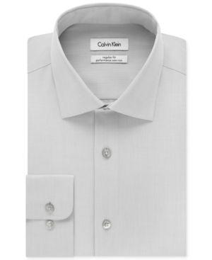 Calvin Klein Steel Men's Big & Tall Classic-Fit Non-Iron Herringbone Dress Shirt - Gray 20 35/36