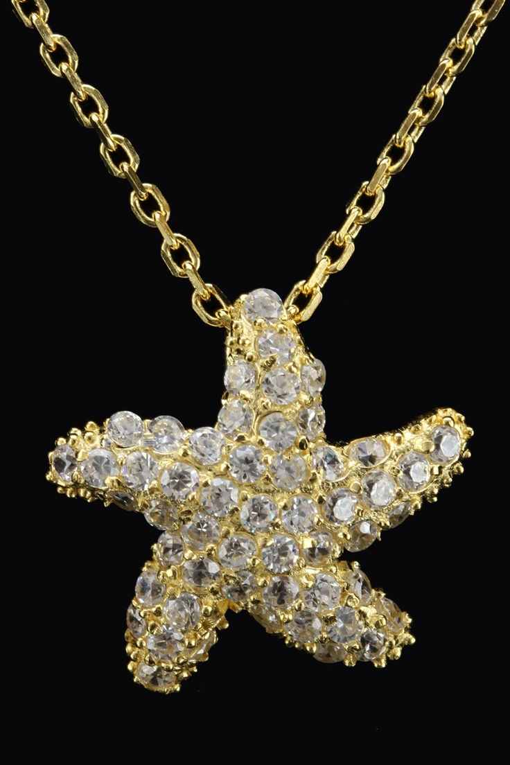 Silver & Co Gold Plated Sterling Silver & Zirconia Starfish Necklace