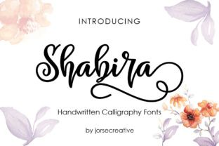 http://Shabira is a hand-written typeface with a fun playful character. It has a flowing baseline, adding instant creativity to your projects.