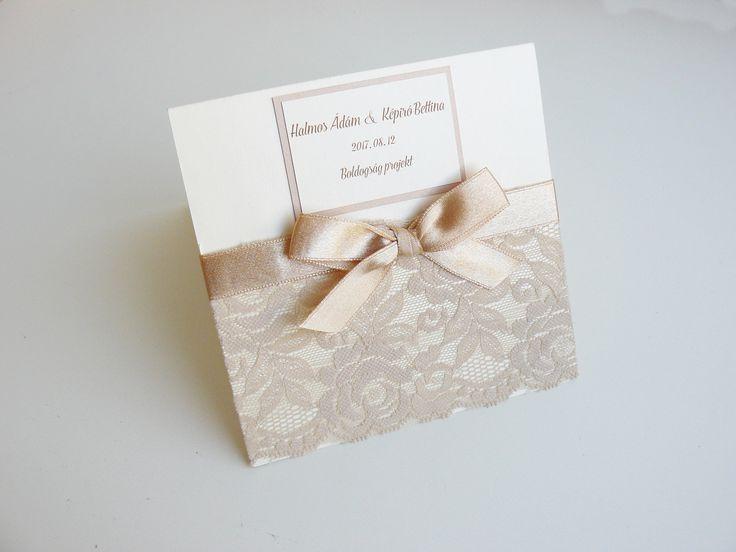 Arany csipkés esküvői meghívó, vintage esküvői meghívó - gold lace elegant wedding invitation, vintage wedding invitation