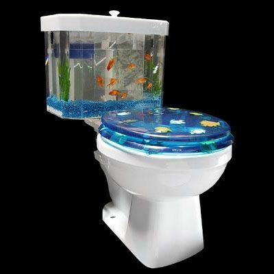 Ha! I can see putting a sticker on the tank that looks like this! Maybe in the kids' bathroom... Kinda cute in a weird way. I wouldn't put live fish in a toilet tank though! Creepy...