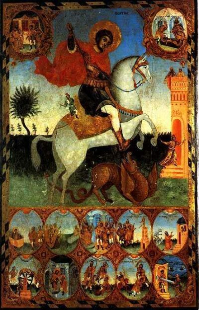 Saint George and the Dragon with 10 scenes of his life. 1840-s. Saint George Church in Dripchevo village