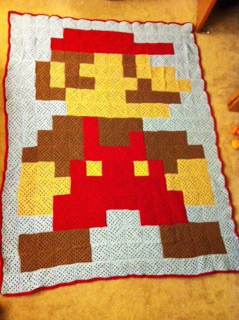 Super Mario Bros Crocheted Afghan  so making this