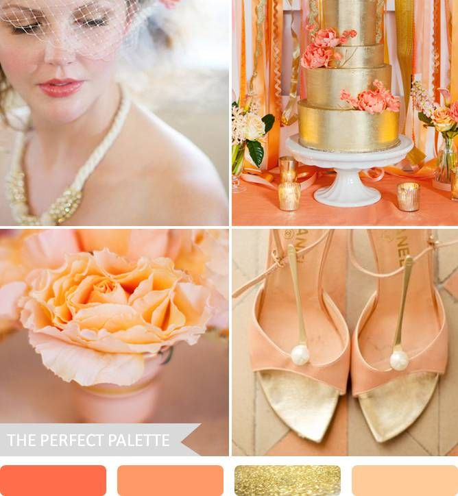 shades of spring coral peach gold and ivory