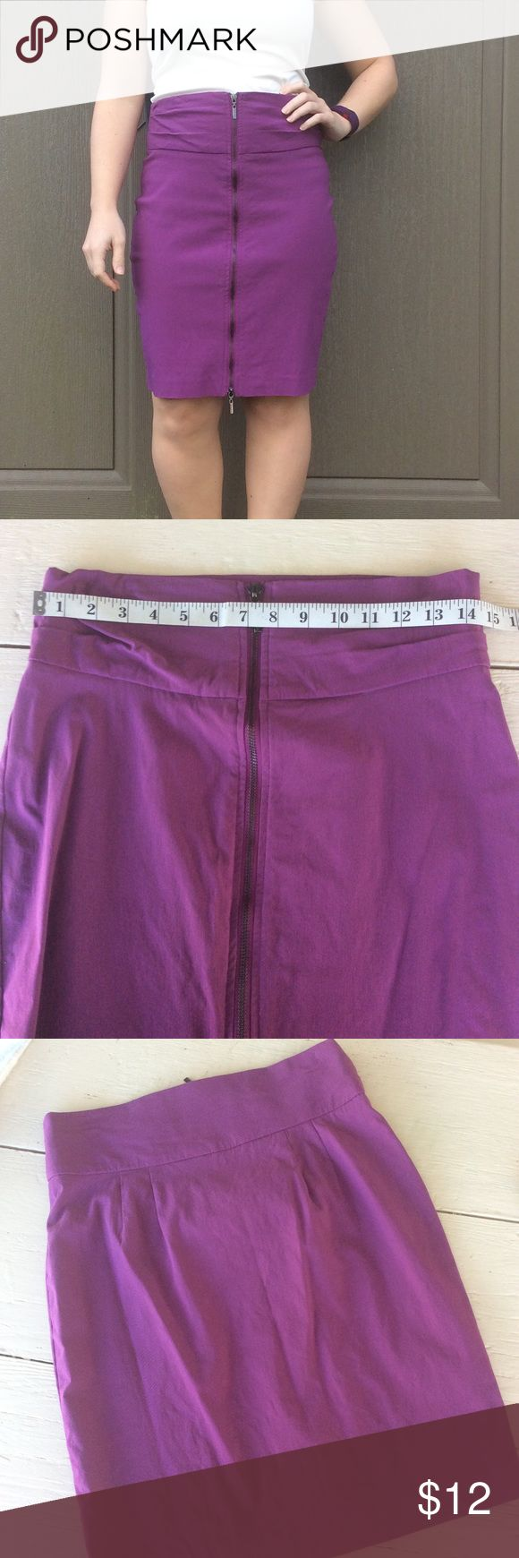 "Purple Pencil Skirt High waist skirt with working zipper down the front. Material is stretchy, labeled an 8, fits like a 6. 21"" long.   >Condition: Very good  🚫 No Trades ✅ Discounted Bundles ✅ Reasonable Offers Bisou Bisou Skirts"
