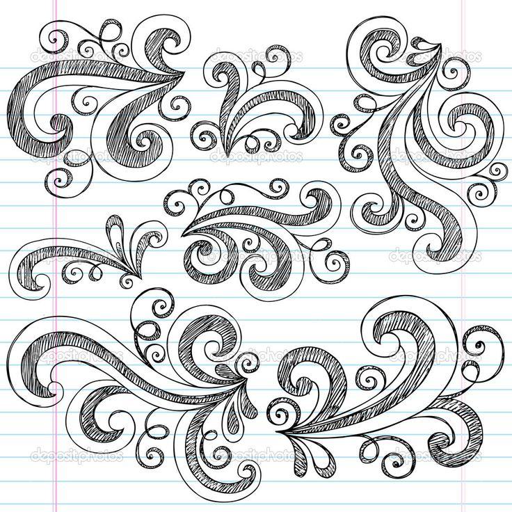 Sketchy Doodle Swirls Vector Design Elements - Stock Illustration: 9663010