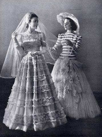 Madeleine Vramant & Carven 1946  Wedding Dress, Fashion Photography