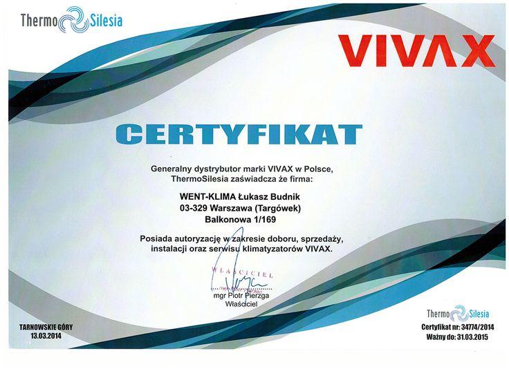 Certyfikat ze szkolenia firmy Vivax