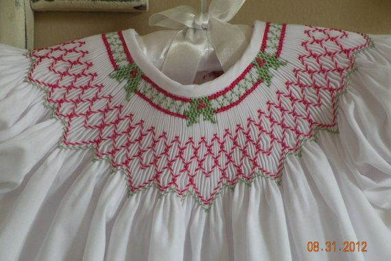 Hand Smocked Christmas Dress by TheSmockingGarden