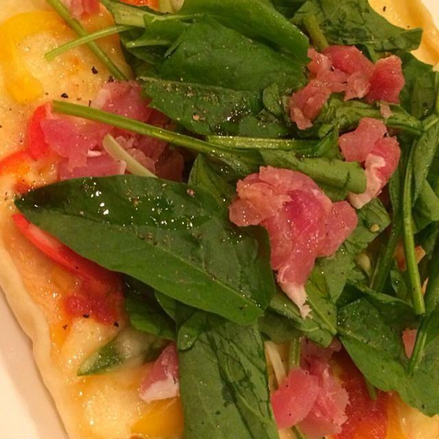 発酵なしのカリカリピザその2 - 18件のもぐもぐ - 簡単ピザ☆サラダほうれん草と生ハム by minimaki20
