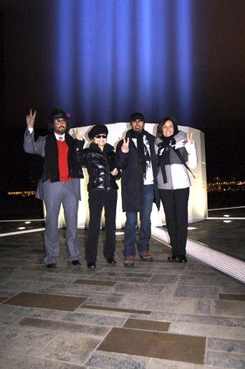 Sean Lennon, Yoko Ono Lennon, Ringo Starr & Olivia Harrison at the unveiling of IMAGINE PEACE TOWER, Viðey Island, Reykjavík, Iceland, 2007. (photo: TetsuRo Hamada)