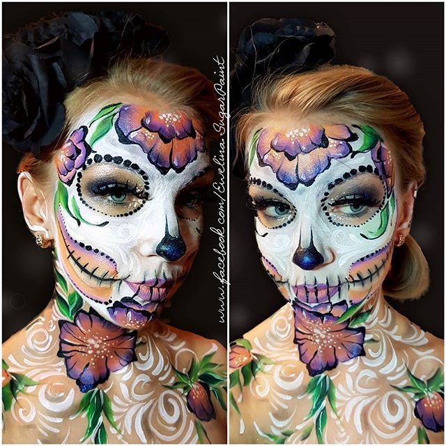 Inspired by Shawna Del Real :) #facepainting #bodypaint #makeupartist #makeup #bodyart #diamond #diamondfx #dfx #halloweenmakeup #halloween #creepy #skull #skullmakeup #sugarpaint #sugarskull #flowerskull #inspired #by #shawnadelreal #glitter #photooftheday #facepaint #onestroke