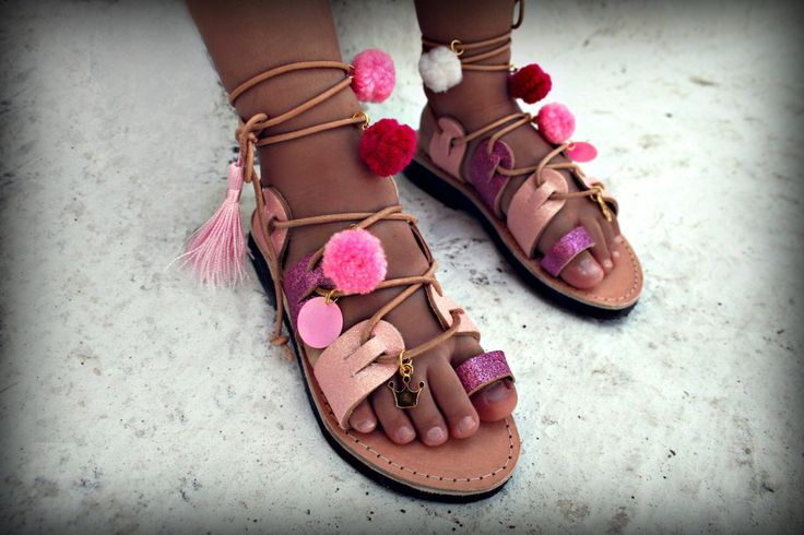 Kappa : Handmade lace up Sandal for young beauties , full of pink Glitter leather
