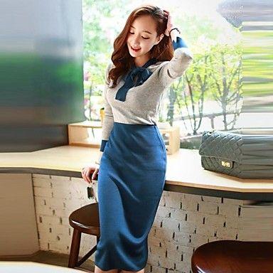 ajuste vestido coreano del color de empalme de las mujeres ocasionales - USD $ 15.50