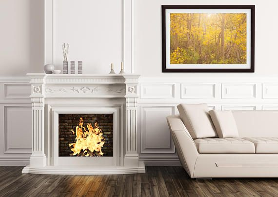 Photographed on the Eastern slope of the Sierra Nevada Mountains, this photographic print of an aspen forest in all its fall foliage glory is ready to hang in any room where you want to bring brightness and a sense of peace. #wallart #walldecorideas #fallfoliage #aspens #framedprint #art #etsy #etsyseller