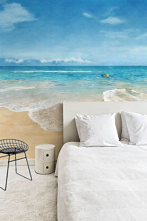 Watercolor Beach Wallpaper Epic Sea Wall Mural Blue by DreamyWall